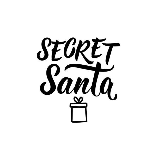 secret santa. vector illustration. christmas lettering. ink illustration. - secret santa messages stock illustrations