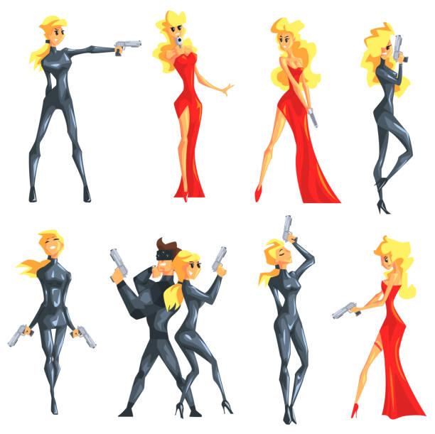 secret service female agent undercover. sexy blond - catsuit stock-grafiken, -clipart, -cartoons und -symbole