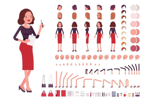 secretary character creation set - receptionist stock illustrations, clip art, cartoons, & icons