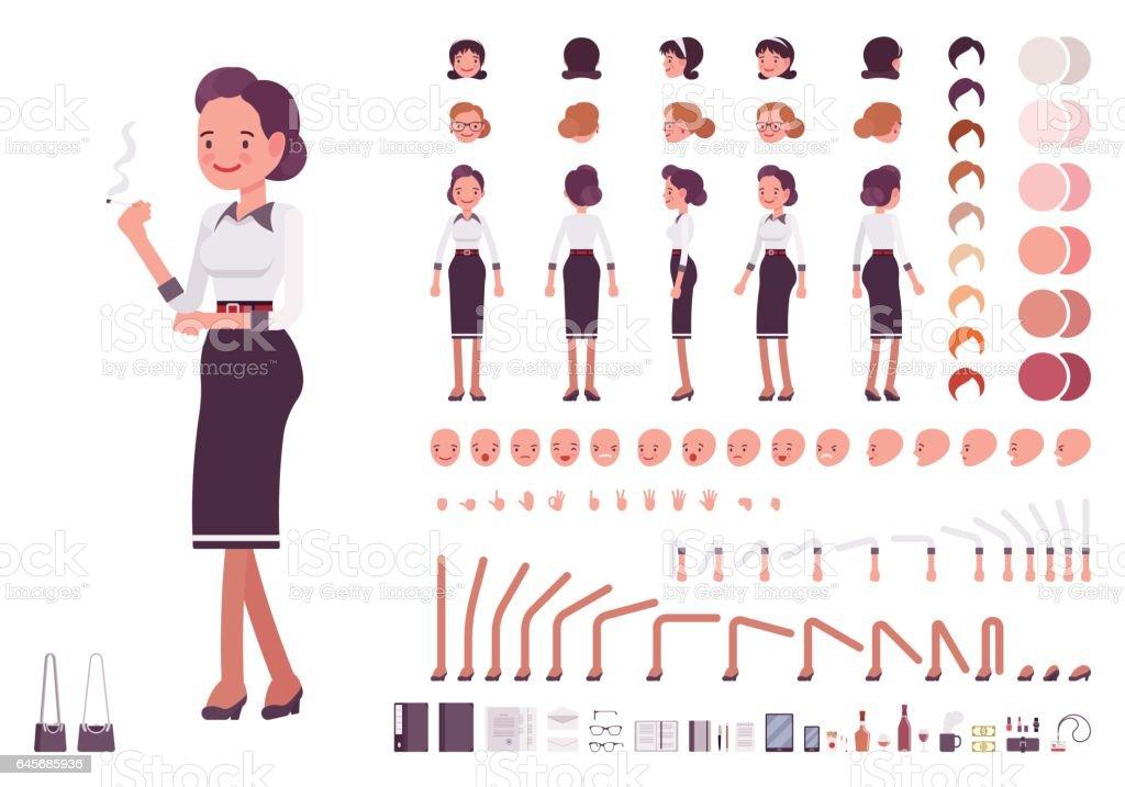 Secretary character creation set vector art illustration