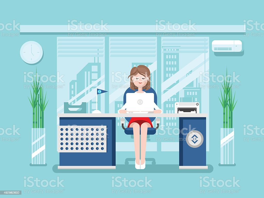 Secretary in office vector art illustration