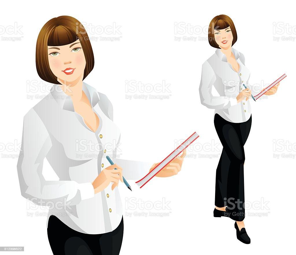 Secretary or teacher writing document vector art illustration