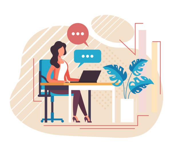 Secretary receptionist office worker character working. Vector flat cartoon graphic design illustration vector art illustration