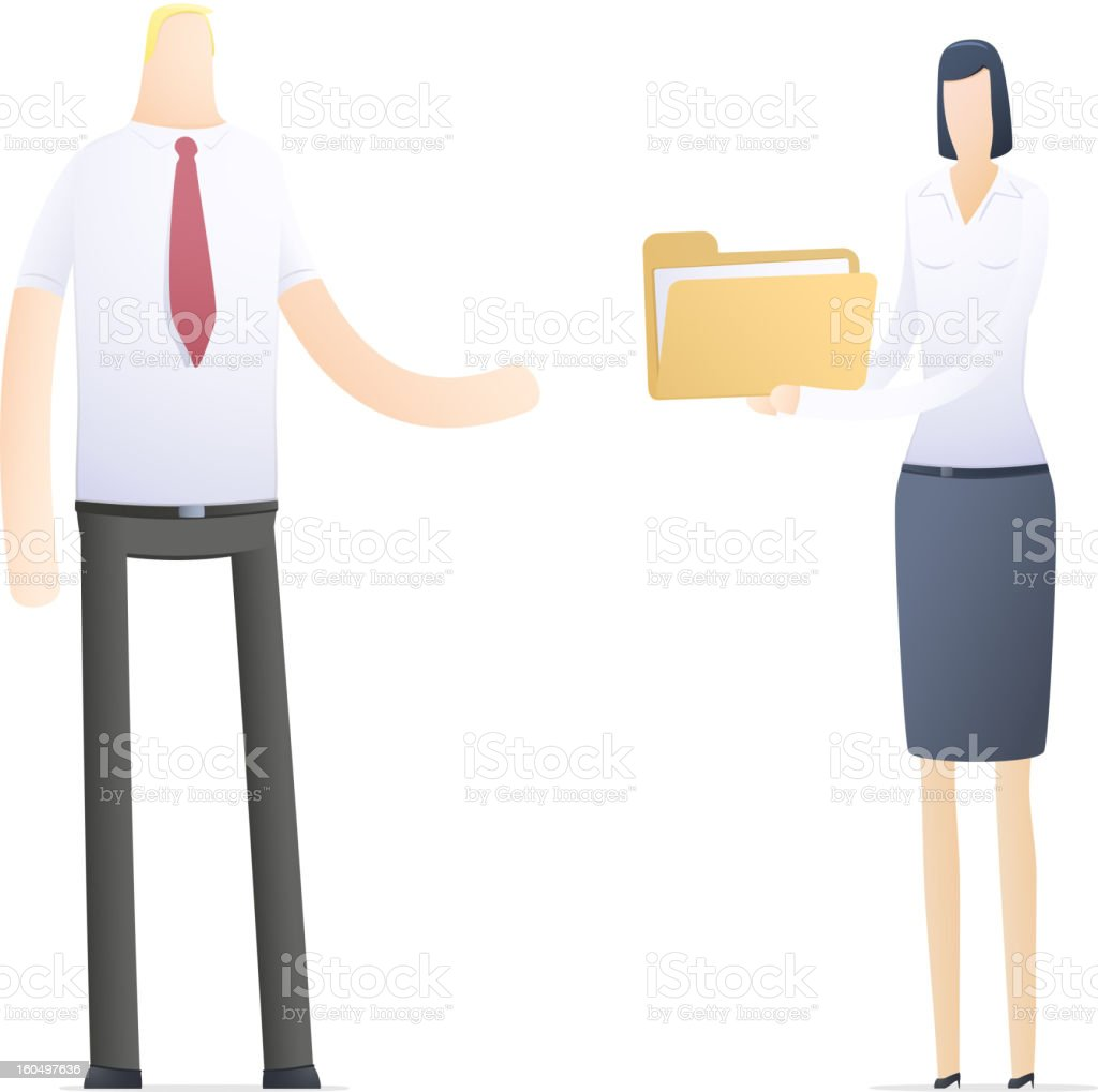 secretary sends important documents royalty-free stock vector art