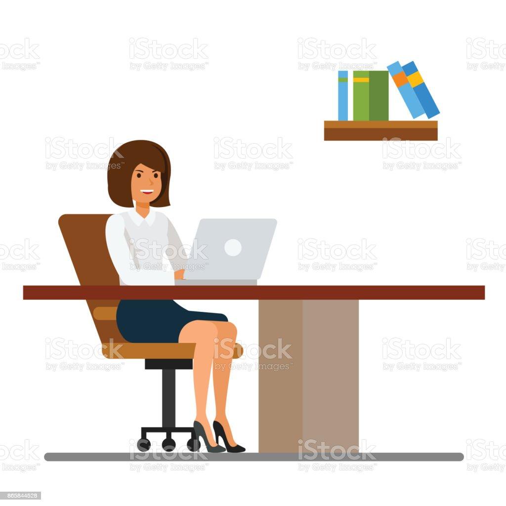 Hochwertig Sekretärin Im Büro Am Schreibtisch Cartoon Flache Vektor Illustration  Konzept Auf Isolierten Weißen Hintergrund Arbeiten Lizenzfreies