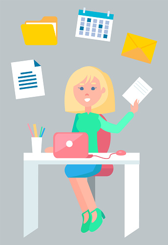 Secretary Working with Documents in Office Vector