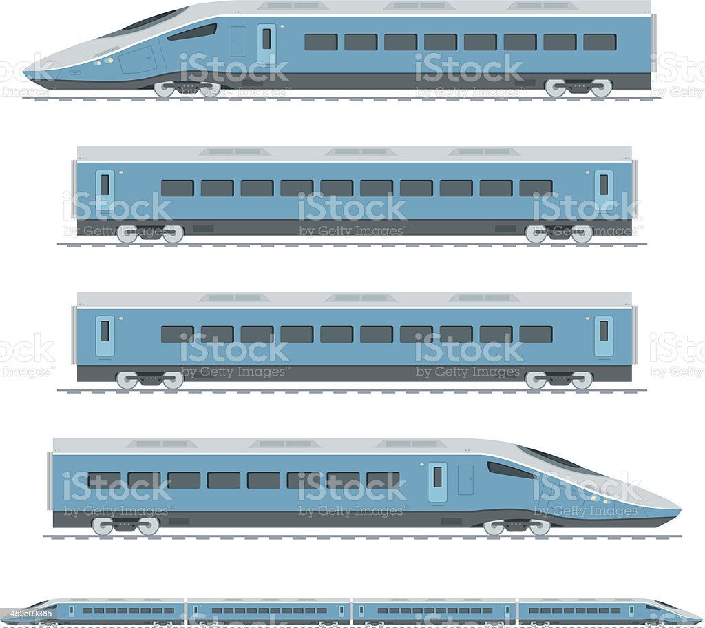 Sections of a blue high speed train vector art illustration