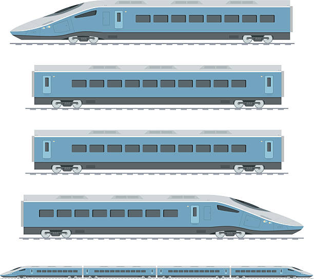 Sections of a blue high speed train Side view illustration of a blue high speed train with modern streamlined design. This is a fully editable vector illustration with CMYK color space. Full four carriage train included. high speed train stock illustrations