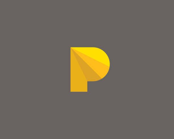 stockillustraties, clipart, cartoons en iconen met sector veelhoek letter p logo. segment kleur vector pictogram logo lettertypesymbool. - letter p