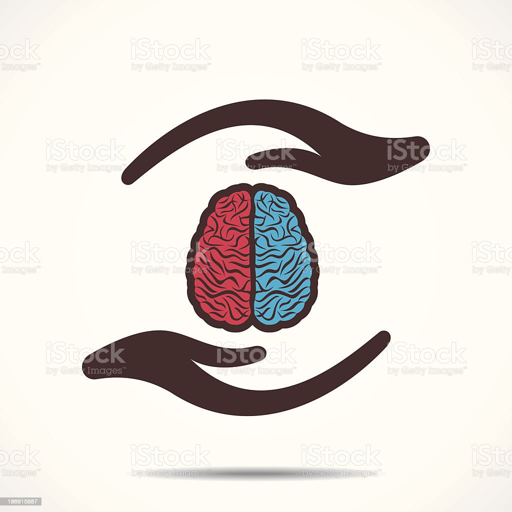 secure brain vector art illustration