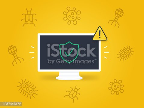 Secure computer safe from hacking, computer viruses, trojan horse and phishing digital attacks.