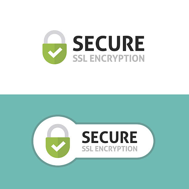 Secure connection icon, secured ssl protected safe data encryption vector art illustration