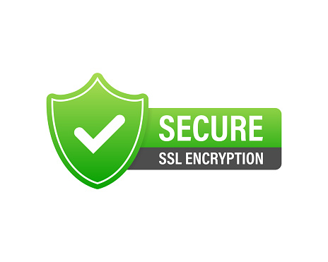 Secure connection icon vector illustration isolated on white background, flat style secured ssl shield symbols, protected safe data encryption technology, https certificate privacy sign