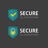 Secure connection label vector on dark background, secured ssl shield