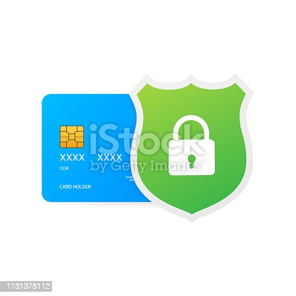 Secure credit card transaction. Payment protection concepts, Secure payment. Vector stock illustration.