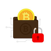 Secure cryptocurrency. Bitcoin digital security illustration isolated on white backgroun.