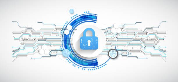 Sicherer digitaler Raum. Virtueller vertraulicher, programmierender Schutz. – Vektorgrafik