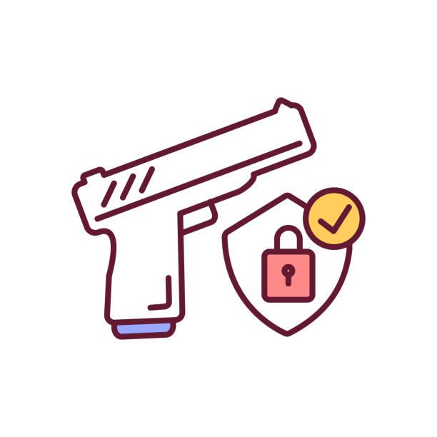 ilustraciones, imágenes clip art, dibujos animados e iconos de stock de arma segura que almacena el icono de color rgb - civil rights