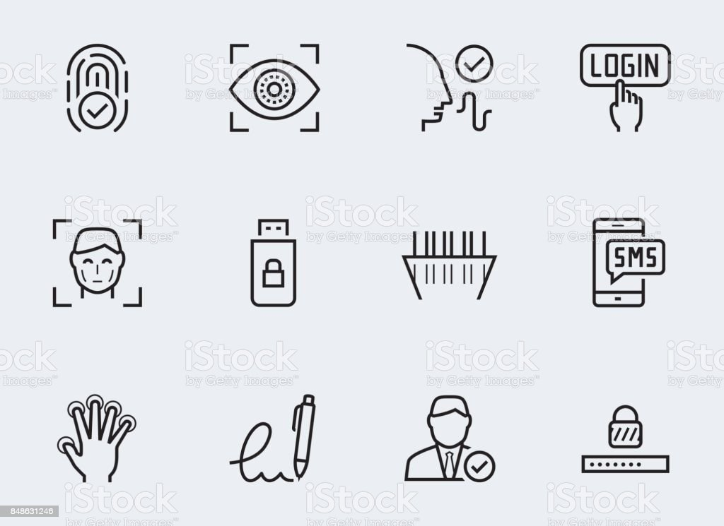 Secure identity verification systems icon set in thin line style vector art illustration