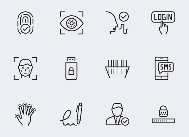 secure identity verification systems icon set in thin line style - сетчатка stock illustrations