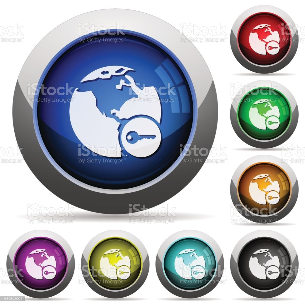 Secure internet surfing round glossy buttons