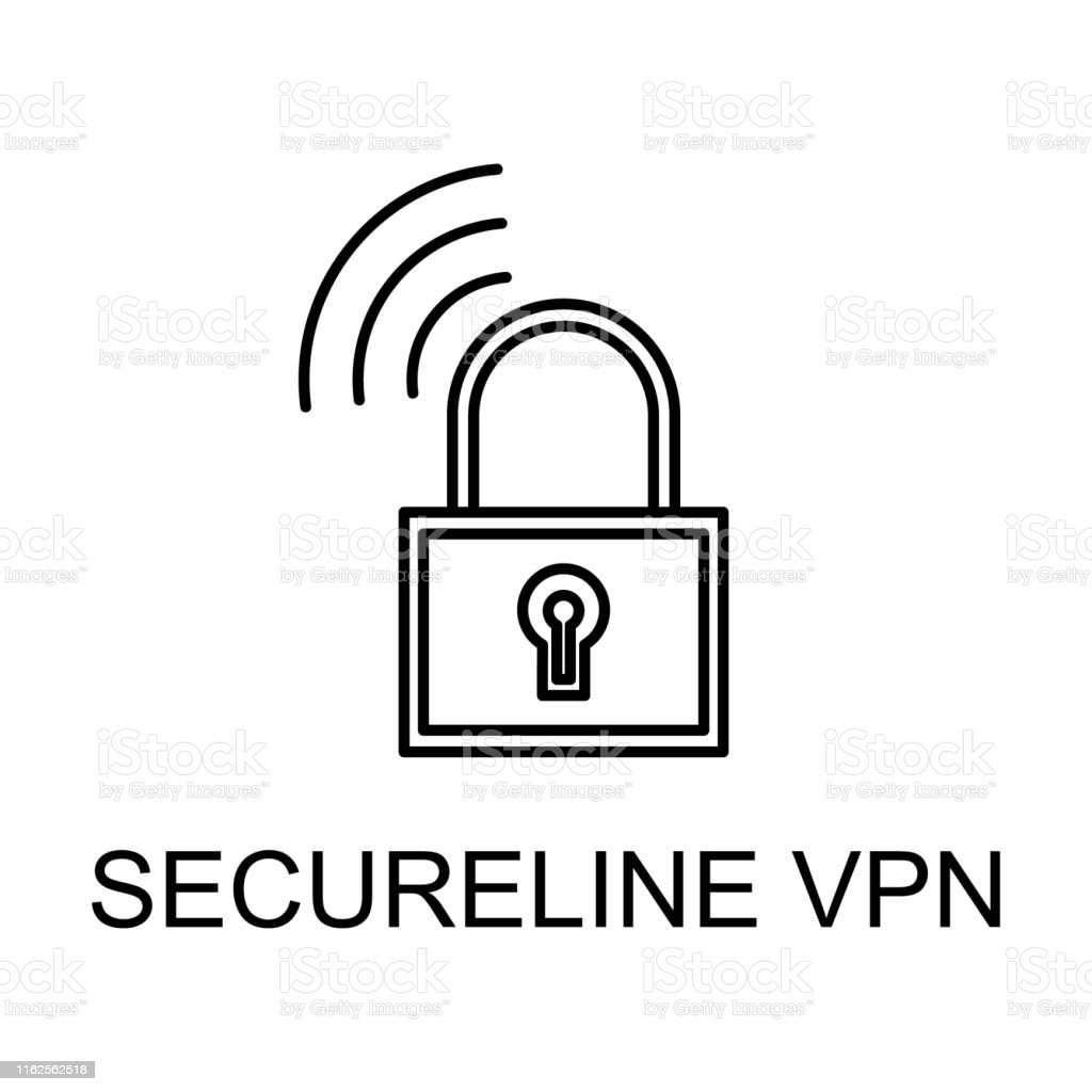 secure line vpn outline icon. Element of data protection icon with...