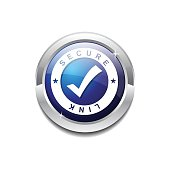 Secure Link Blue Vector Icon Button