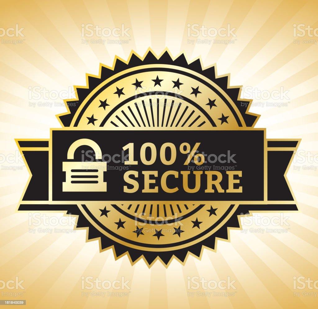 Secure Lock Gold & Black Badge royalty-free stock vector art