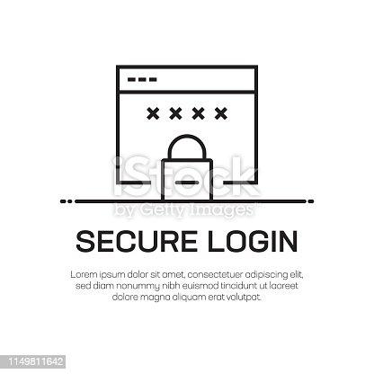 istock Secure Login Vector Line Icon - Simple Thin Line Icon, Premium Quality Design Element 1149811642