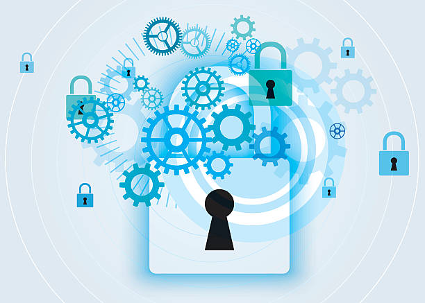 Secure Network vector art illustration