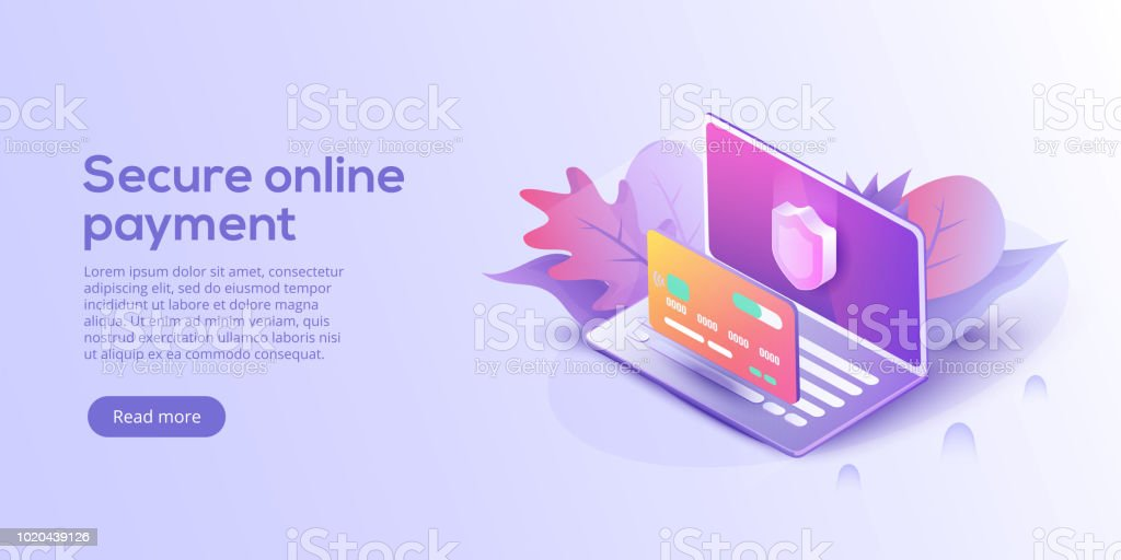 28b65338d0 Sichere Online-Zahlung für e-Commerce-isometrische Vektor-Illustration.  Geldtransfer per
