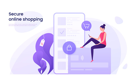 Secure online shopping, protected payments using credit card concept.