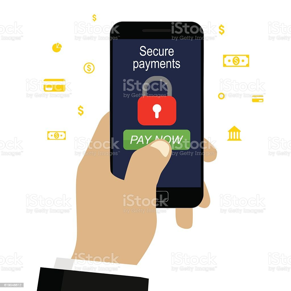 Secure payment by mobile vector art illustration