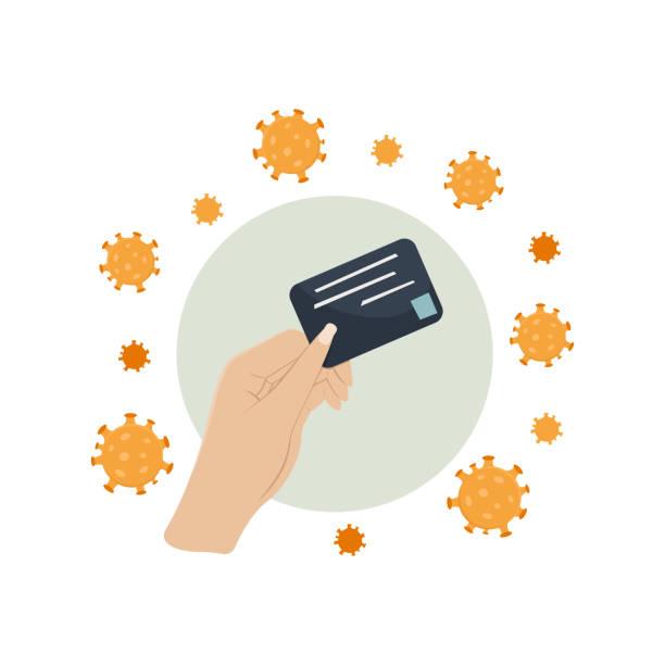 sichere zahlungsmethode per bankkarte im geschäft im falle einer coronavirus-epidemie. prävention covid-19 - smartphone mit corona app stock-grafiken, -clipart, -cartoons und -symbole