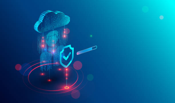 Secure privacy data in internet. data in cloud storage. Cyber security tech concept. vector art illustration