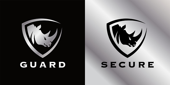 Secure shield Rhino icon. Premium security guard company badge sign. Concept tough wild horned African animal strength symbol. Vector illustration.