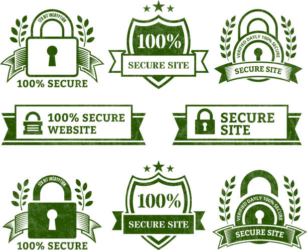 secure website royalty free vector icon set - pattern stock illustrations, clip art, cartoons, & icons