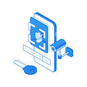 Isometric vector illustration of white and blue modern smartphone protected with face recognition app and password near key and camera