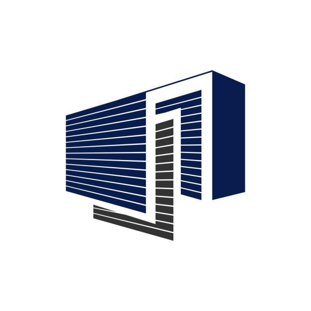 stockillustraties, clipart, cartoons en iconen met beveiligde openbare self storage logo ontwerp vector illustratie - opslagruimte