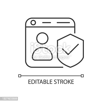 istock Securing accounts linear icon 1327620305