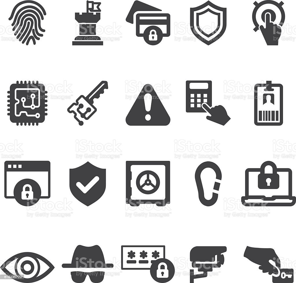 Security 20 Silhouette Icons| EPS10 vector art illustration
