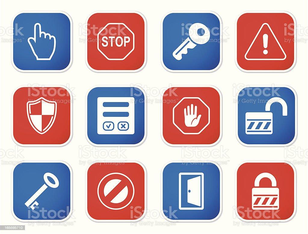 Segurança & conjunto de adesivos acesso m ilustração de segurança conjunto de adesivos acesso m e mais banco de imagens de acessibilidade royalty-free