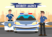 Security Agency Advertising Flat Banner Template. Police Officers and Car Vector Illustration. Bodyguards Cartoon Characters. Ribbon with Lettering. Guardians at work and Cityscape Poster