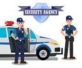 Security Agency Officers Task Banner Template. Bodyguards and Police Car Flat Vector Illustration. Security Agency Isolated Emblem with Lettering. Equipped Policemen Cartoon Characters