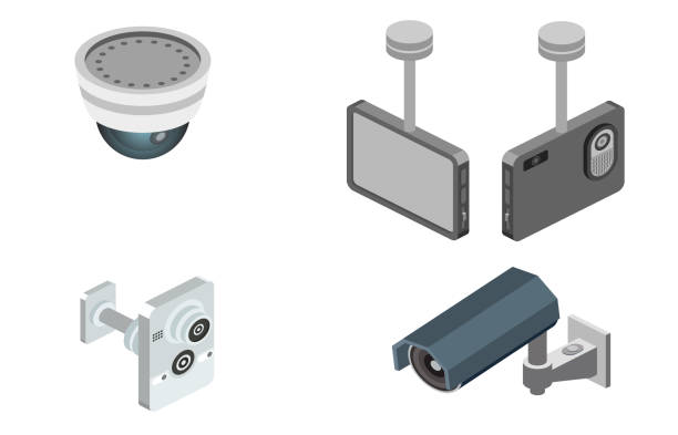 vektor-illustration des sicherheitsalarmsystems - infrarotfotografie stock-grafiken, -clipart, -cartoons und -symbole