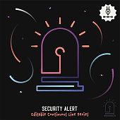 Gradient vector illustration for security alert concept. Minimalist graphic design has continuous line with editable stroke included in black background.