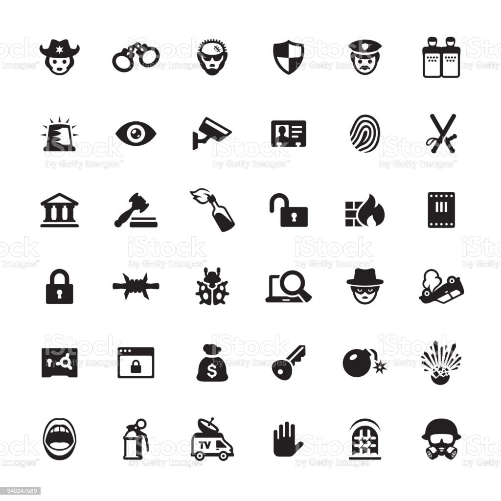 Security and Crime - icon set vector art illustration