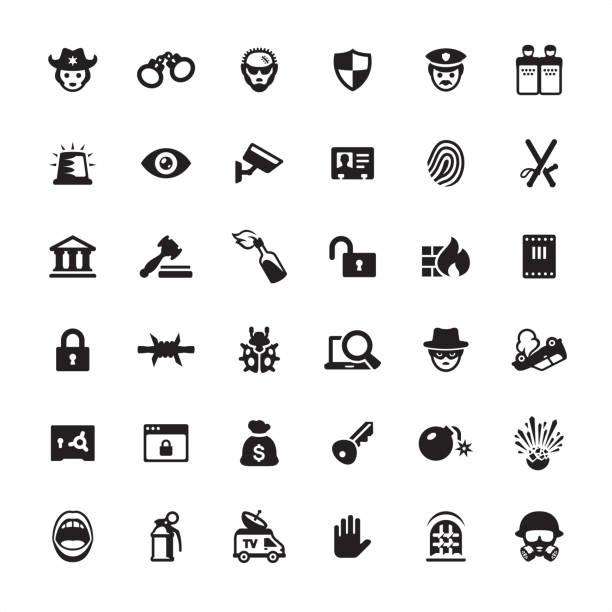 セキュリティと犯罪 - アイコンを設定 - id盗難点のイラスト素材/クリップアート素材/マンガ素材/アイコン素材