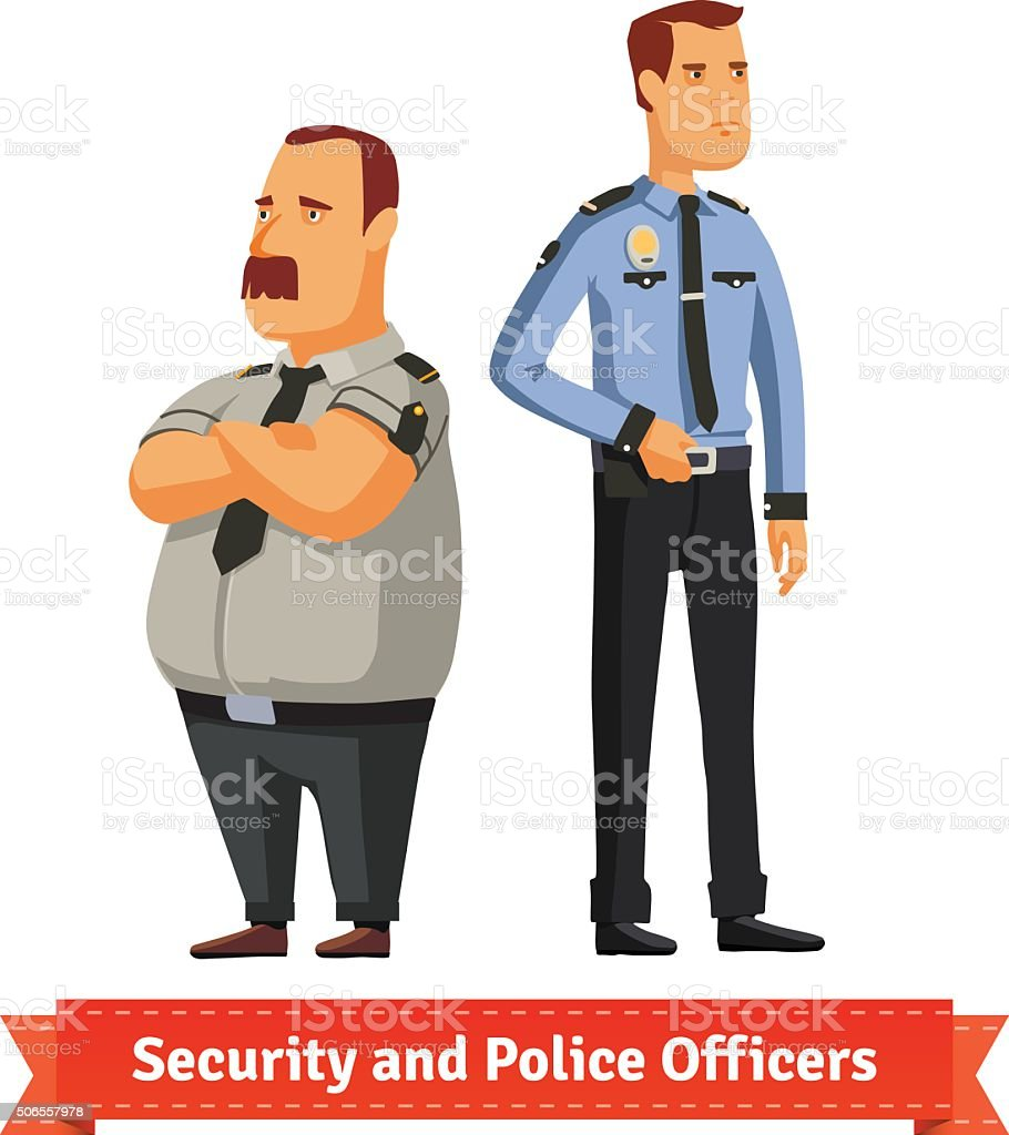 Security and police officers standing vector art illustration