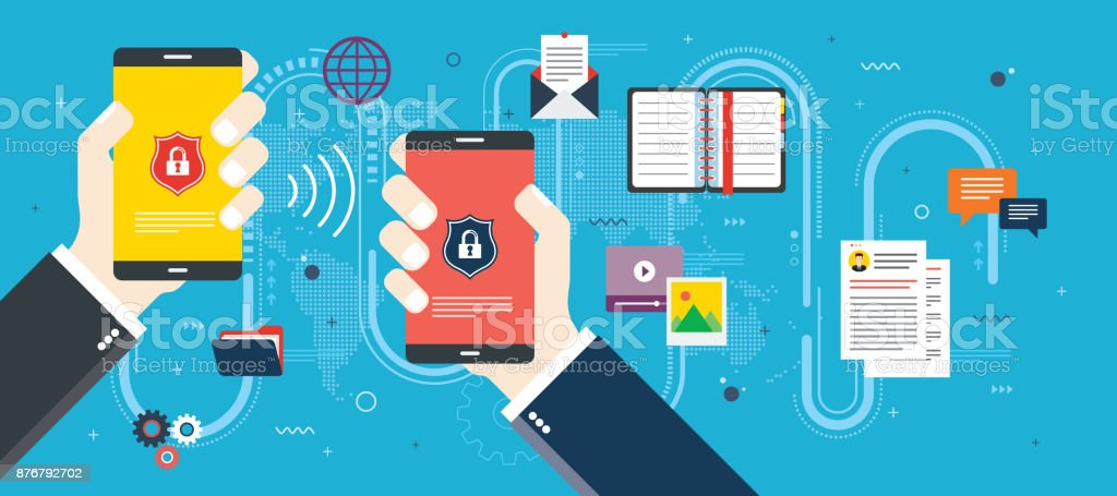 Security and privacy of mobile phone. vector art illustration